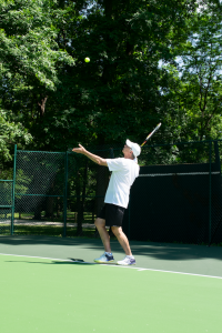 Steven Huntley has played tennis since college and still enjoys the sport as a form of exercise.