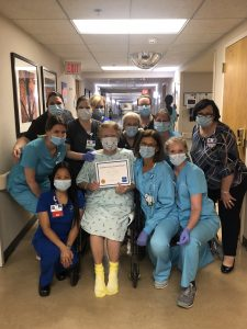 After battling COVID-19 for weeks, Carol Stookey was transferred to Riverview Health to complete the acute rehabilitation program. She worked tirelessly, and on June 2 Carol graduated from the program and went home to be with her family.