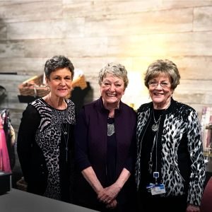 After more than 30 years as a Riverview Health volunteer, Carolyn Johns became a familiar face at the Riverview Health Gift Shop. She will be missed by many, including Karen Burck (far left) and Sue Smith (middle), who have both worked with her over the years as buyers for the gift shop.