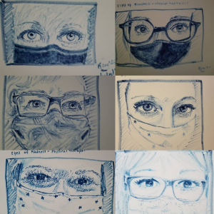 """While Kim Hogge was only able to see half of their faces, she said that no matter what she was going through her therapy team always had """"kind eyes."""" This inspired Kim to begin a project called """"Eyes of Kindness,"""" which she said helped her heal after suffering from a brain stem stroke in May 2020."""