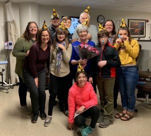 Sharon and her family celebrated her last day of chemotherapy at Riverview Health with party hats, noise makers and a lot of smiles.