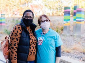 Kenyatte thanks her nurse, Maria, who cared for her during her chemotherapy treatments.