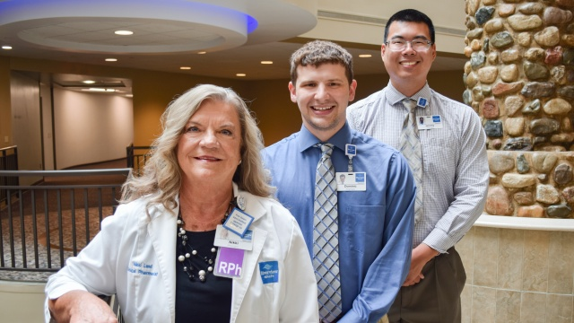 Riverview Health Pharmacy Manager Brian Peters (center) with current PGY1 Pharmacy Residents Miroslav Anguelov (left) and Natalie Schwarber (right).